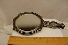EMPIRE ART SILVER Hand Held MIRROR Rose MOTIF ART DECO vintage from old estate