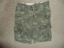 ABERCROMBIE & FITCH  SHORTS MEN'S CAMO CARGO GREEN SZ 28 BUTTON FLY