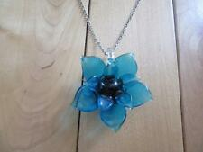 "VINTAGE BLUE GLASS FLOWER NECKLACE LOOKS ACRYLIC  18"" SILVER TONE CHAIN"