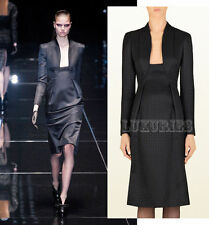 $2,500 GUCCI DRESS BLACK HOUNDSTOOTH OPEN NECKLINE TRUMPET SKIRT WOOL SILK 40 4