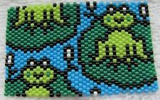 Beautiful Hand Beaded Frog on Lilly Pad G2 pen wrap with lime green Pen