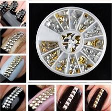 240 Studs Nail Art Wheel Mix Rhinestone Silver Gold DIY Metallic3D Stud 8 cm whl