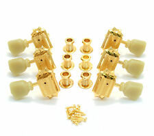 135G Grover Gold Vintage Deluxe Ivoroid Keystone 3 x 3 Guitar Tuners