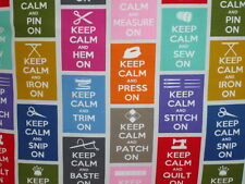 "NEW 16"" Cushion Cover Keep Calm And Carry On Sewing Sew Stitch Iron Quilt"