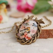 1Pc Vintage Bronze Glass Gemstone Bird And Flower Pattern Pendant Chain Necklace