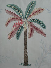 "ZOFFANY CURTAIN FABRIC DESIGN ""Palme"" 3.6 METRES (360 CM) TEAL & PINK 100% LINEN"