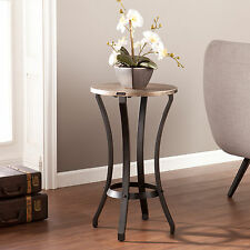 MAT13030 BLACK & GOLD FAUX LEATHER ROUND ACCENT TABLE