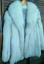 MINT WHITE SAGA FOX FUR JACKET Shawl Collar Never Worn LARGE Norwegian Fox FAB