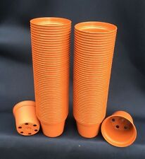 """TO 6.5, PLASTIC FLOWER POTS, TERRA-COTTA COLORED, 2 1/2"""", LOT OF 100 NEW"""