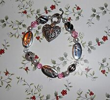 LOVE DAUGHTER FOREVER Bracelet, Puffy Heart, Crystals, Faux Pearls Silver Beads