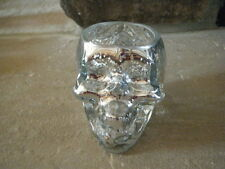 HALLOWEEN SILVER MIRROR SKULL HEAD CRACKLED GLASS VOTIVE CANDLE HOLDER TEA LIGHT