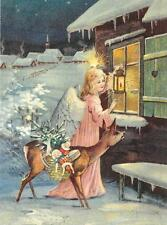 Antique Style Post Card Christmas Angel Deer Presents Toys Doll Dolls