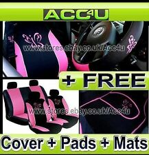 13 Pcs Black Pink Butterfly Design Car Seat Covers Pad Mats Steering Wheel Cover
