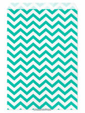 "100 Flat Merchandise Paper Bags: 6 x 9"", Teal Chevron Stripes on White"