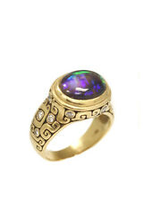 ALEX SEPKUS 18kt Yellow Gold Diamond Bezel Set Black Jelly Oval Opal Ring 6.75