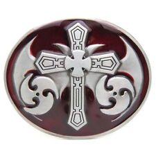 Unique Cross Warrior Sword Crusader Templars Shield Belt Buckle Men Western Red