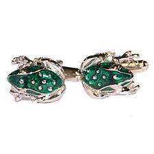 Silver & Bright Green Frog Cufflinks With Gift Pouch Toad Pond Wildlife Male New
