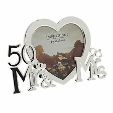 50th Golden Wedding Anniversary Silver Plated Photo Frame Gift Ideas Present
