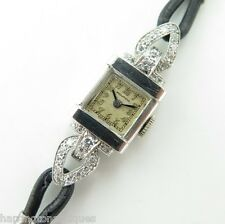 .1940s MOVADO LADIES ART DECO PLATINUM & DIAMOND COCKTAIL WATCH - SERVICED