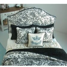 GORGEOUS French TOILE BED Black & White by Lorraine Scuderi Dollhouse Miniature