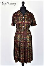 VINTAGE GENUINE 1950'S RICH BROWN MAROON PRINTED SILK BELTED PLEATED DRESS 12