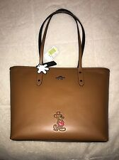 Coach Disney Limited Edition Mickey City Tote Leather Bag Purse Saddle