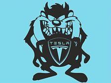 Taz Tesla con Logo Etiqueta De La Ventana Pegatina De Coche Pegatina de Parachoques Trasero Lado DYI T55