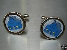 ESTATE AGENTS HOUSE NEW CHROME FINISH CUFFLINKS