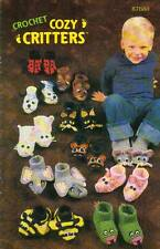 USED COZY CRITTERS ANIMALS CHILDREN'S SLIPPERS DIGEST SIZE CROCHET BOOK RARE