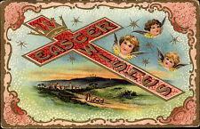 Frohe Ostern Glückwunsch EASTER WISHES Postcard 1910 Engel Kreuz U.S. Postage