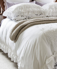 Shabby Hampton Chic White Petticoat Ruffle King Bed Set Duvet Doona Quilt Cover