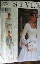 STYLE  sewing pattern no. 2990 WEDDING DRESS   size 8-18 uncut