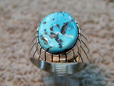 New Mens Sterling  Sleeping Beauty Turquoise Ring Navajo Ray Jack Size 11
