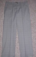 DOCKERS Gray Plaid Straight Fit Flat Front Flyweight Casual Pants Siz 40 x 29