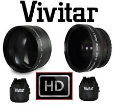 2-PC LENS KIT HI DEF TELEPHOTO & WIDE ANGLE LENS FOR CANON VIXIA HF G20 G30