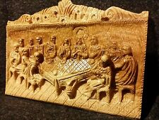 Zacharia Brothers Bethlehem Hand Carved Jesus Last Supper Wall Hang Olive Wood