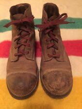 Vtg 40s 50s Leather Cap Toe Work Boots Panco Corded Nailed Soles sz 5.5
