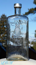A GIGANTIC  old OWL DRUG bottle FULL QUART - 10 inches TALL w/pic owl !