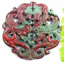 Brown red chinese old jade Double hollow carved dragon pendant bead fb07000