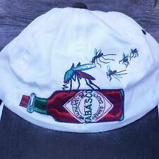 """Bite Me"" TABASCO and MOSQUITO Embroidered White VISOR Baseball CAP Humorous Vtg"