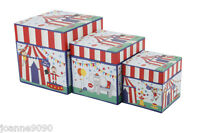 SET OF 3 RETRO BRIGHT CIRCUS STACKING STORAGE BOXES BOX KIDS ADULTS HOME GIFT