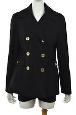 Michael Michael Kors Womens Black Basic Jacket Sz L Wool Long Sleeve Coat