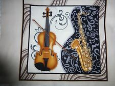 VIOLIN SAXOPHONE Fabric Craft Panel Cotton Quilting Musical Instruments