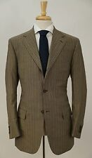 LkNew $3595 ISAIA NAPOLI 'Sirio' Tan Striped Wool & Mohair Suit 40 R