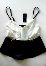 BEBE IVORY BLACK LACE BACK LEATHERETTE PEPLUM NEW TOP MEDIUM M