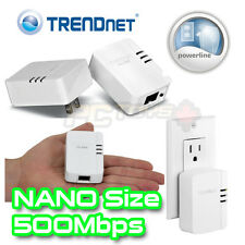 TRENDNET TPL-406E2K Nano Compact PowerLine Ethernet Network 500Mbps Adapter Kit