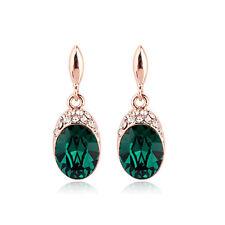 18CT Rose Gold Plated Genuine Swarovski Crystal Dark Emerald Gem Stud Earrings