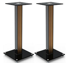 "Aluminum Glass and Wood Bookshelf Speaker Stand 23.6"" with floor spikes set of 2"