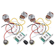 2 Pcs Guitar Prewired Wiring Harness for Fender Tele Parts 3 Way 250K Pots Jack