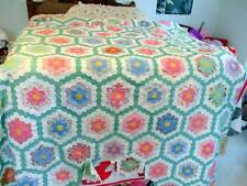 ANTIQUE FLOWER GARDEN HAND STITCHED FEED SACK QUILT TOP UNFINISHED
